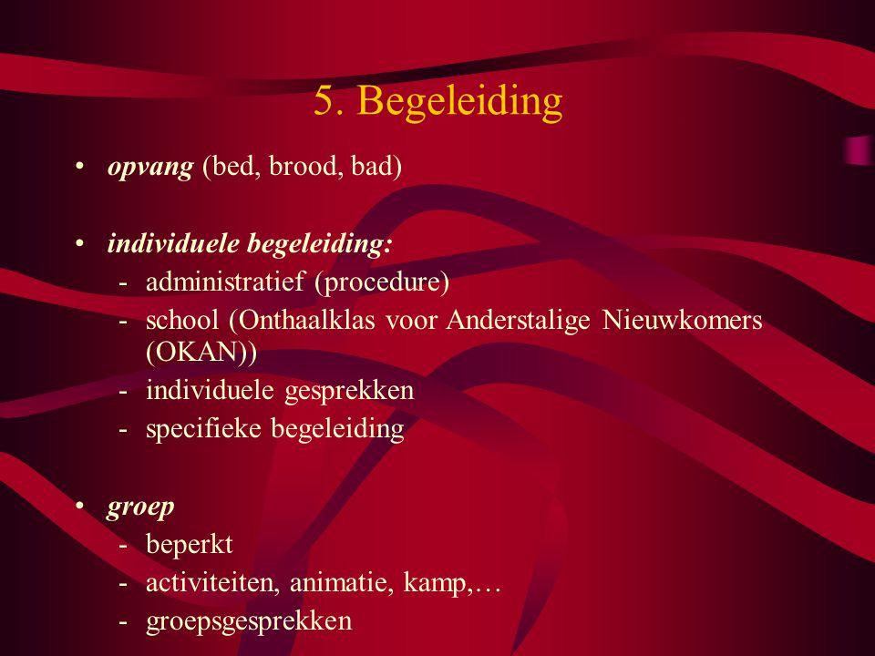 5. Begeleiding opvang (bed, brood, bad) individuele begeleiding: