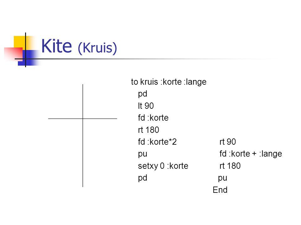 Kite (Kruis) to kruis :korte :lange pd lt 90 fd :korte rt 180 rt 90