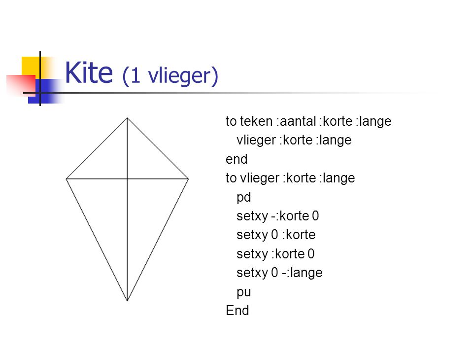 Kite (1 vlieger) to teken :aantal :korte :lange vlieger :korte :lange