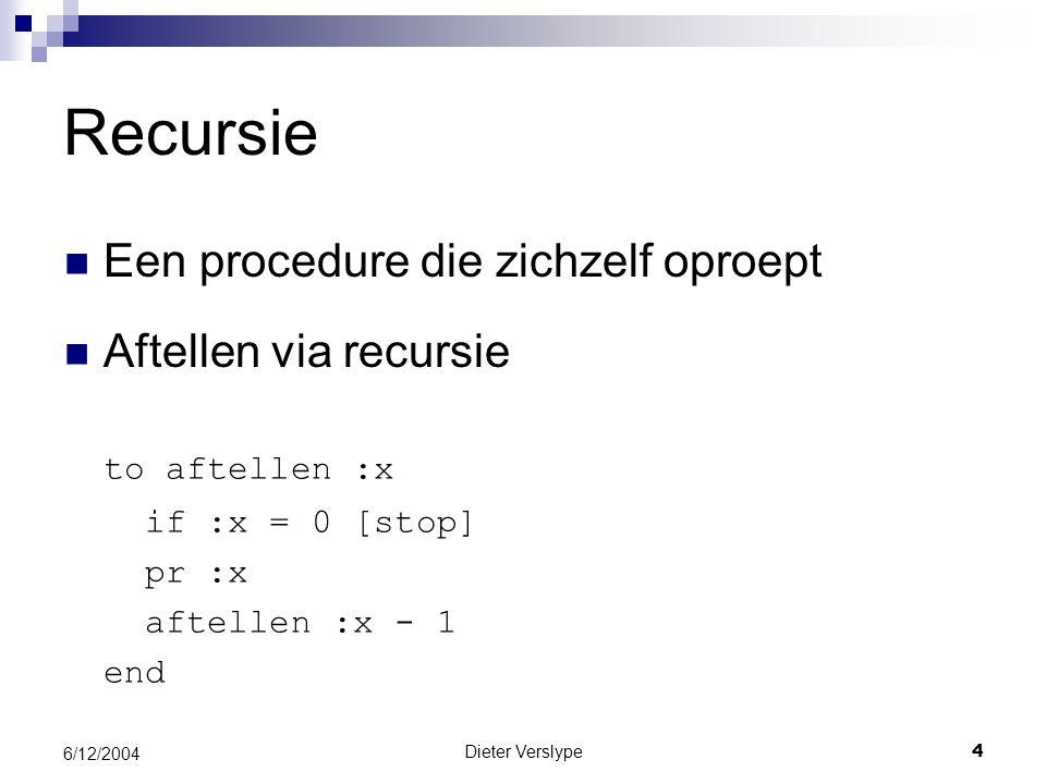 Recursie Een procedure die zichzelf oproept Aftellen via recursie
