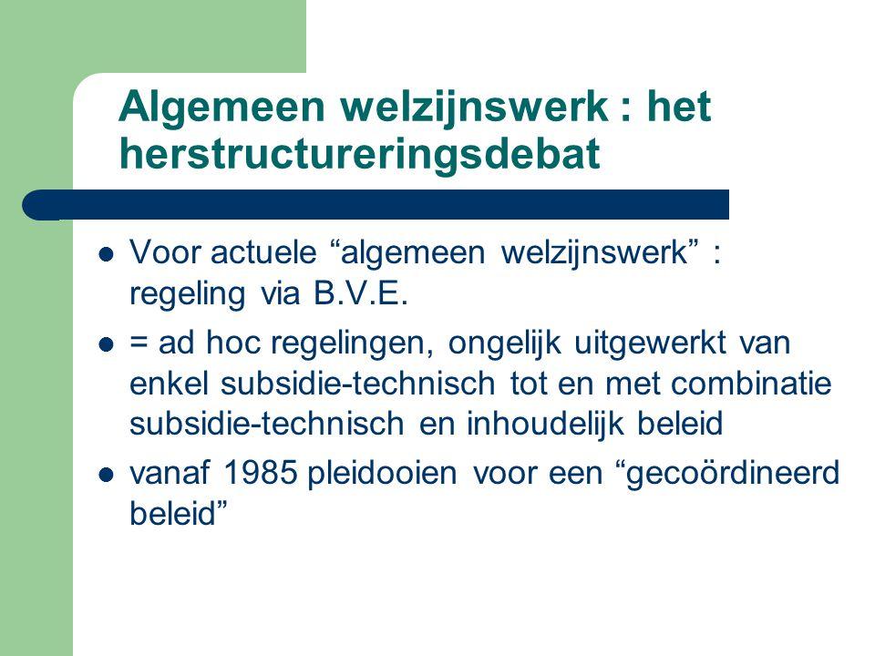 Algemeen welzijnswerk : het herstructureringsdebat