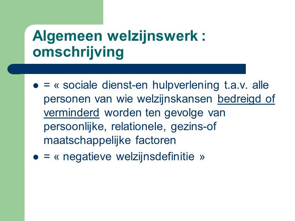 Algemeen welzijnswerk : omschrijving