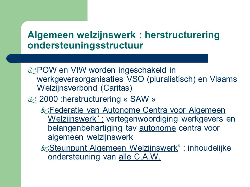 Algemeen welzijnswerk : herstructurering ondersteuningsstructuur