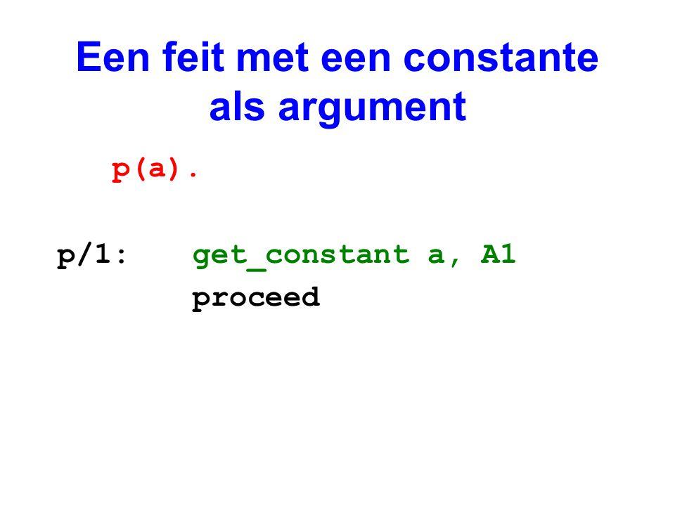 Een feit met een constante als argument
