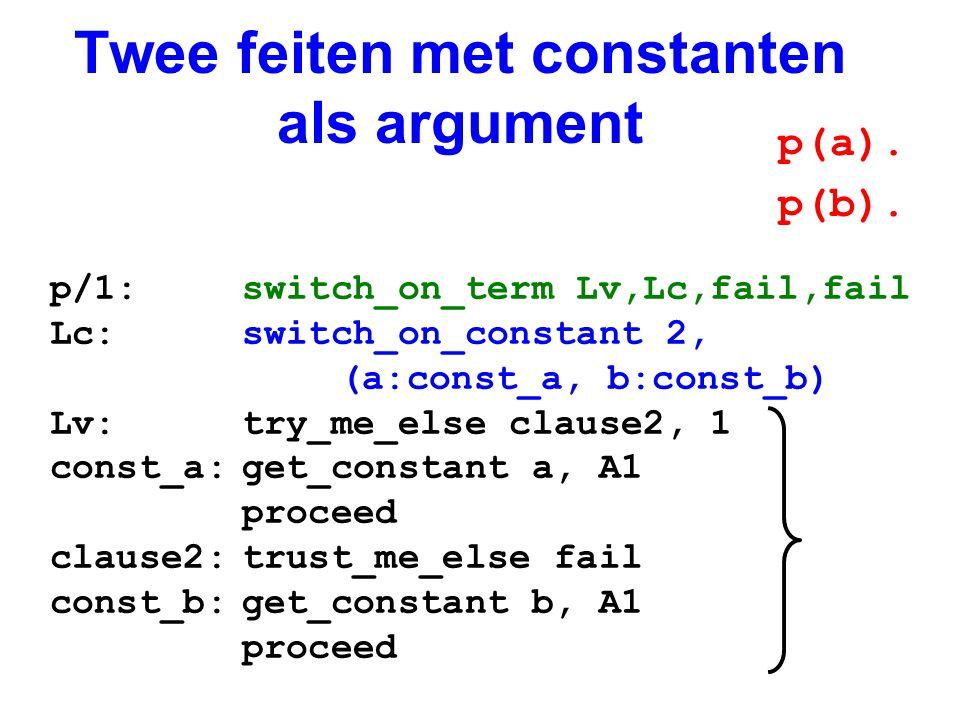 Twee feiten met constanten als argument