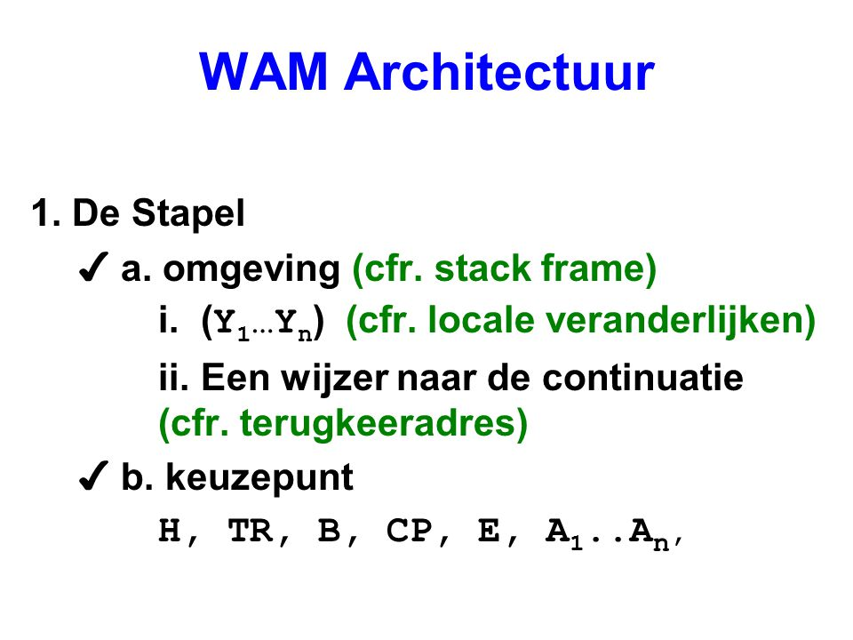 WAM Architectuur 1. De Stapel a. omgeving (cfr. stack frame)