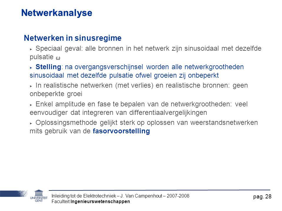 Netwerkanalyse Netwerkanalyse Netwerken in sinusregime