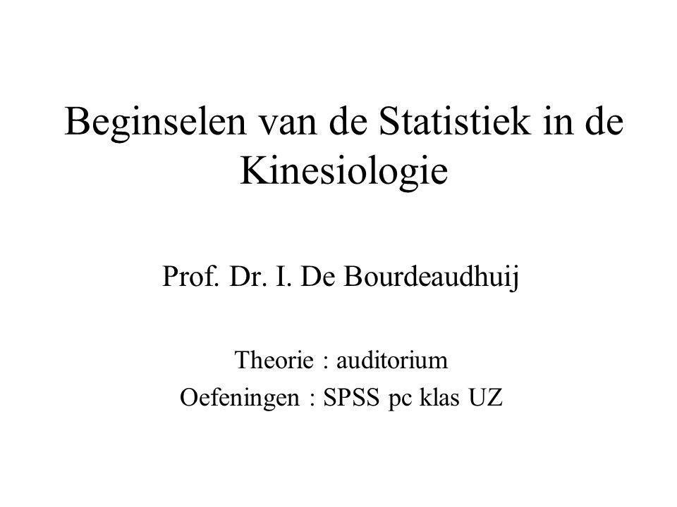 Beginselen van de Statistiek in de Kinesiologie