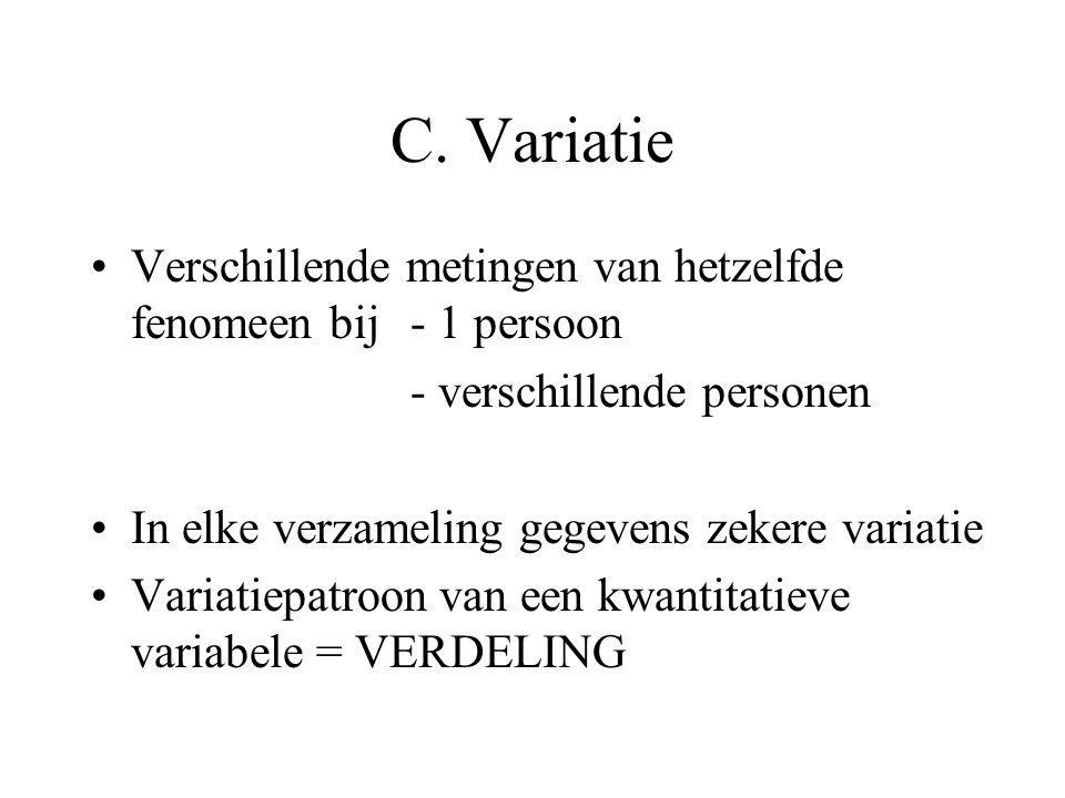 C. Variatie Verschillende metingen van hetzelfde fenomeen bij - 1 persoon. - verschillende personen.