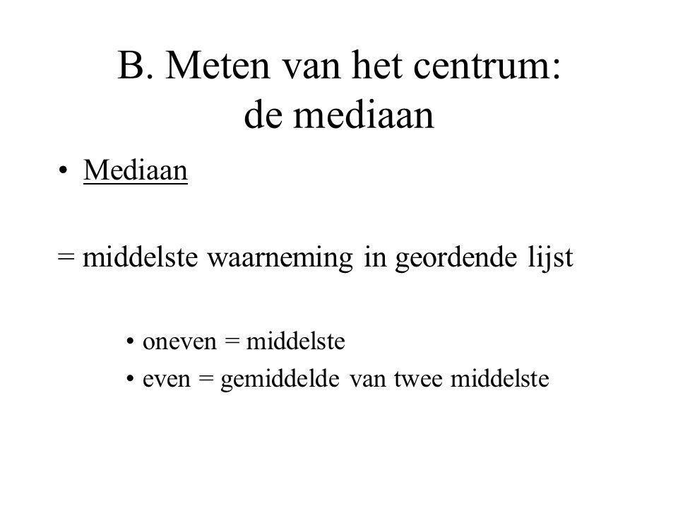 B. Meten van het centrum: de mediaan