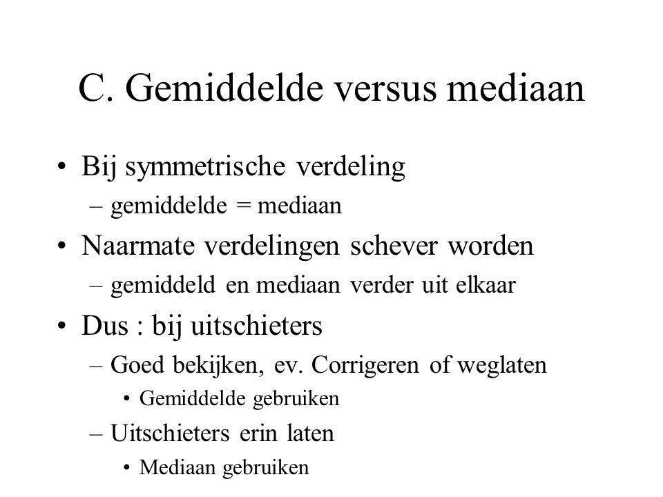 C. Gemiddelde versus mediaan