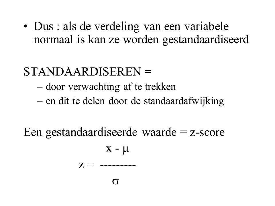 Een gestandaardiseerde waarde = z-score x - µ z = --------- 