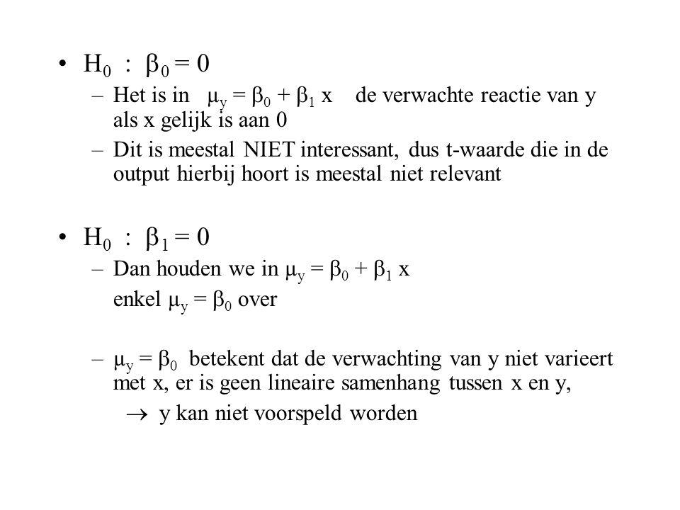 H0 : 0 = 0 Het is in µy = 0 + 1 x de verwachte reactie van y als x gelijk is aan 0.