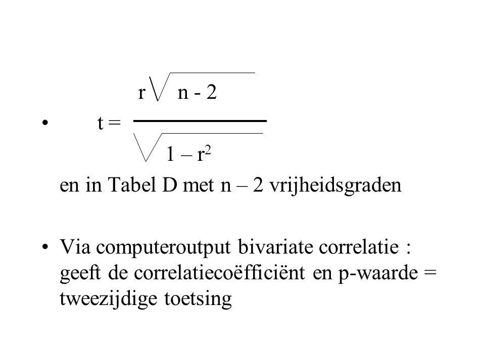 r n - 2 t = 1 – r2. en in Tabel D met n – 2 vrijheidsgraden.