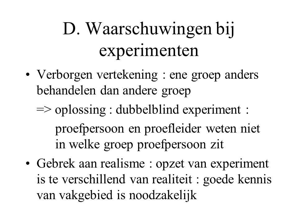 D. Waarschuwingen bij experimenten