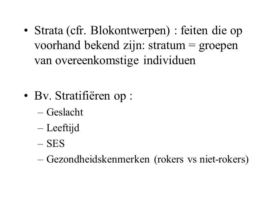 Strata (cfr. Blokontwerpen) : feiten die op voorhand bekend zijn: stratum = groepen van overeenkomstige individuen