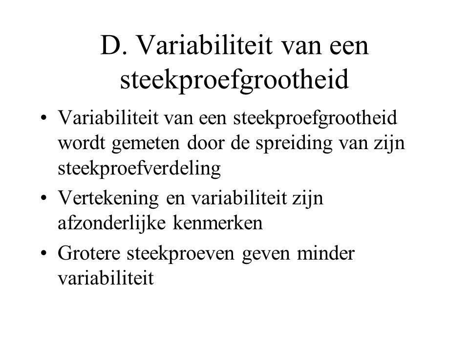 D. Variabiliteit van een steekproefgrootheid