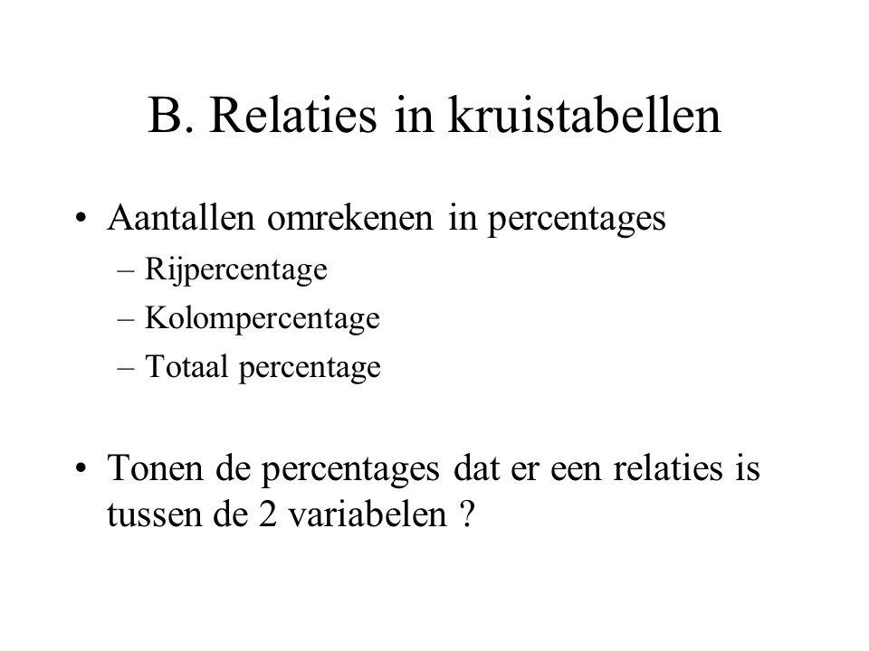 B. Relaties in kruistabellen