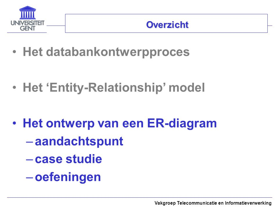 Het databankontwerpproces Het 'Entity-Relationship' model