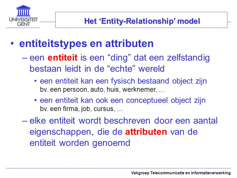 Het 'Entity-Relationship' model