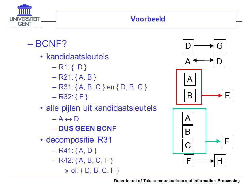 BCNF A B C F D G E H kandidaatsleutels