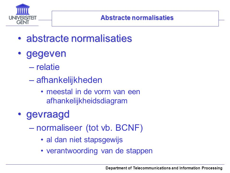 Abstracte normalisaties