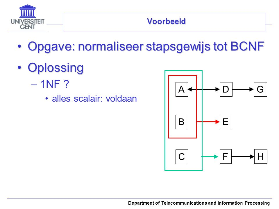Opgave: normaliseer stapsgewijs tot BCNF