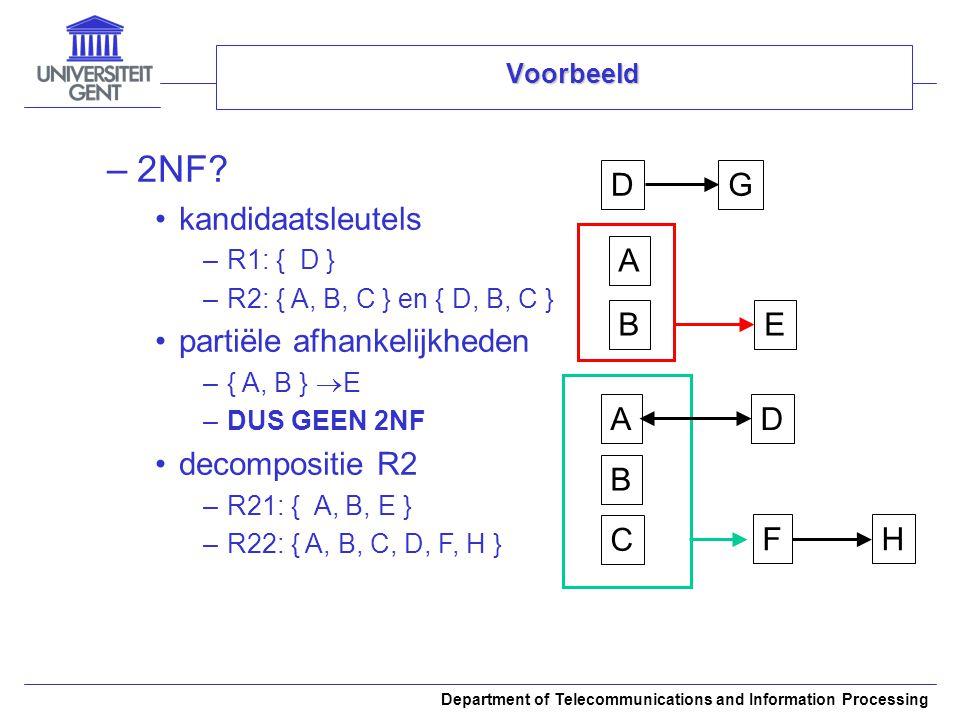 2NF kandidaatsleutels partiële afhankelijkheden decompositie R2 A B C