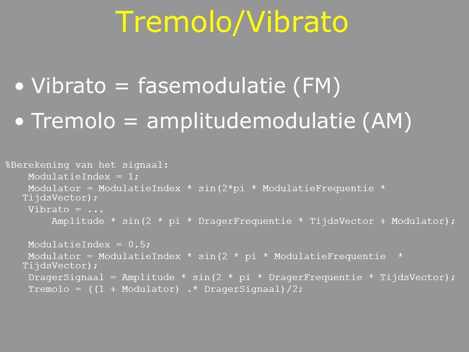 Tremolo/Vibrato Vibrato = fasemodulatie (FM)