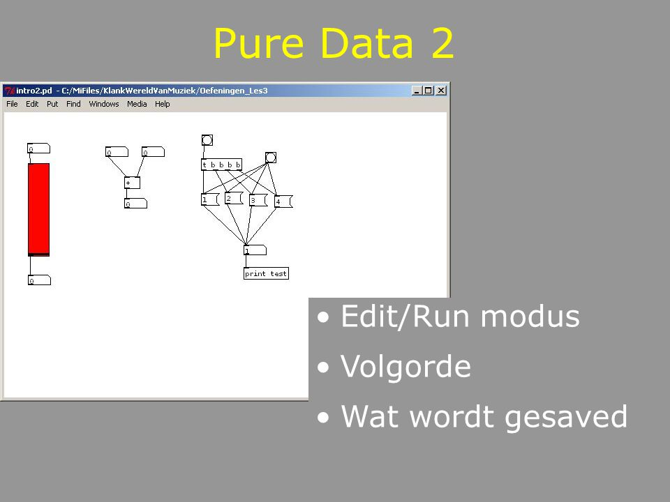 Pure Data 2 Edit/Run modus Volgorde Wat wordt gesaved
