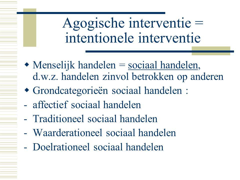 Agogische interventie = intentionele interventie