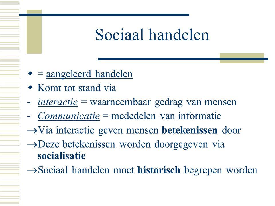 Sociaal handelen = aangeleerd handelen Komt tot stand via