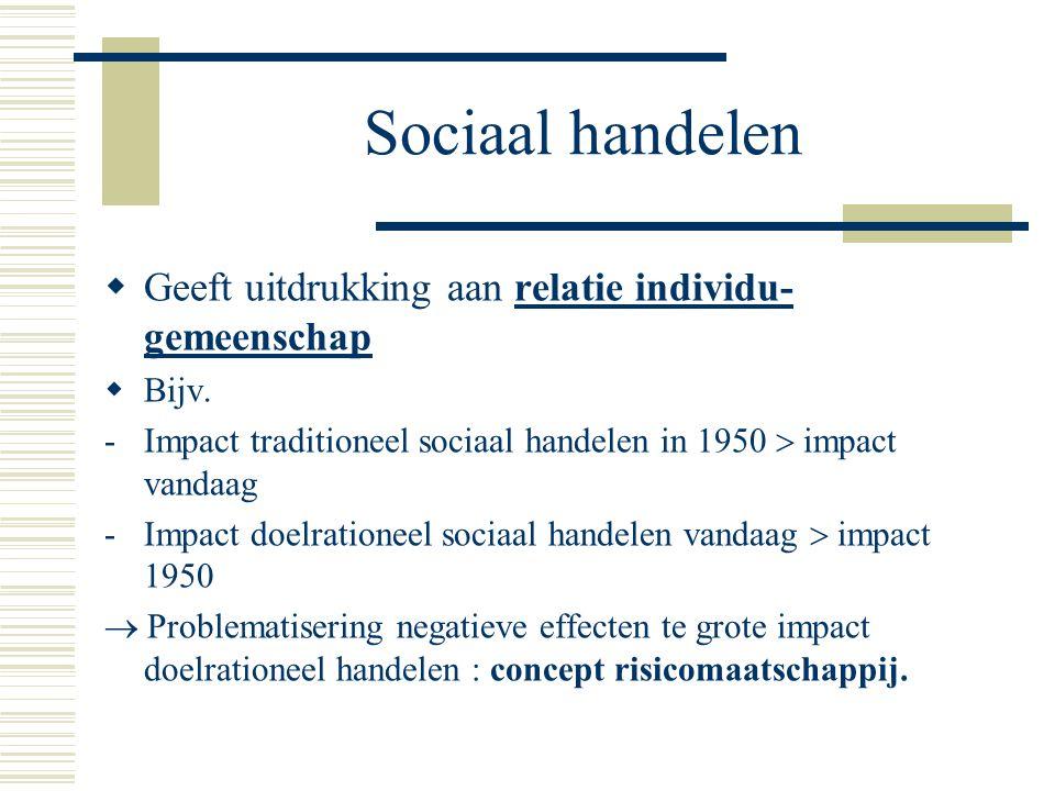 Sociaal handelen Geeft uitdrukking aan relatie individu-gemeenschap