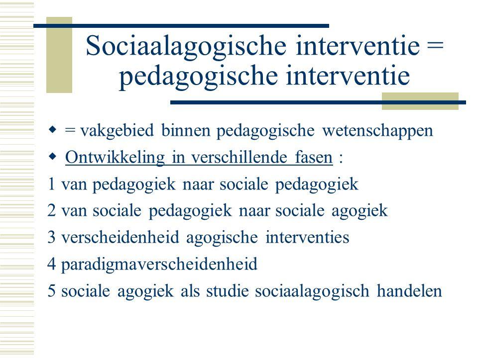 Sociaalagogische interventie = pedagogische interventie