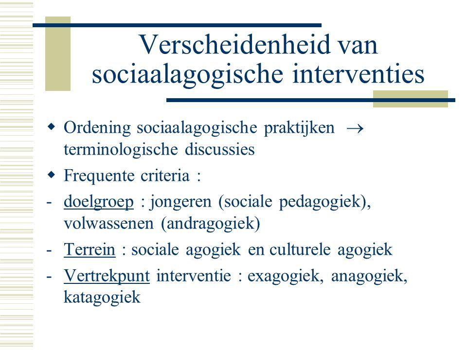 Verscheidenheid van sociaalagogische interventies