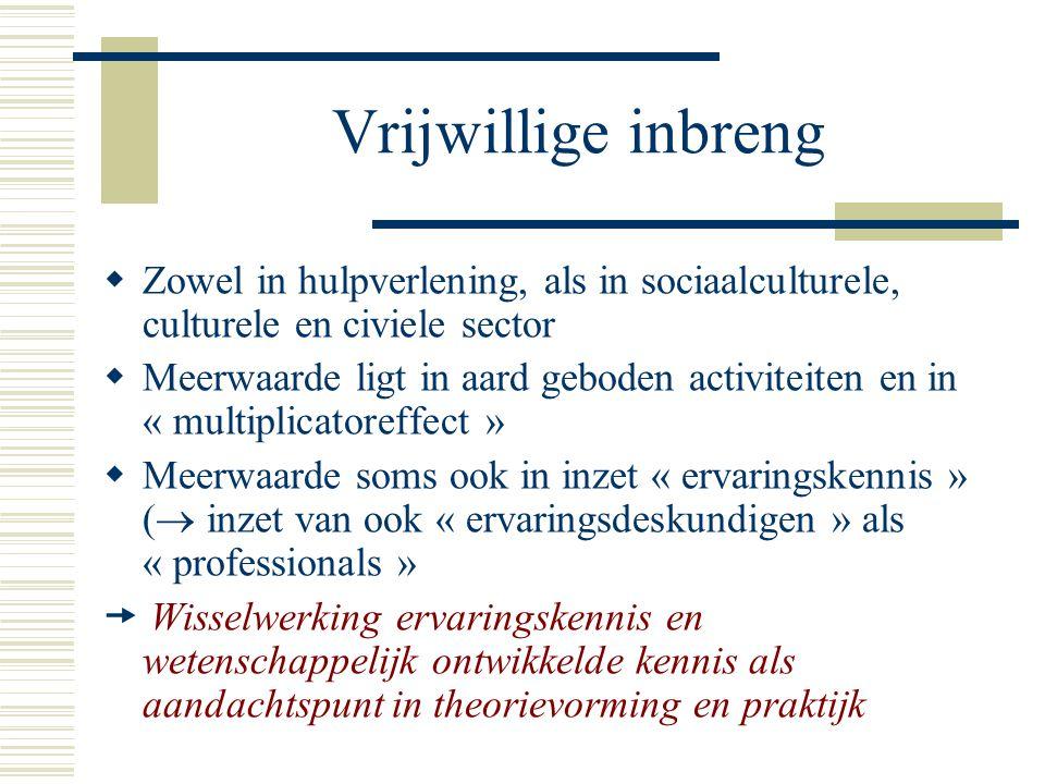 Vrijwillige inbreng Zowel in hulpverlening, als in sociaalculturele, culturele en civiele sector.