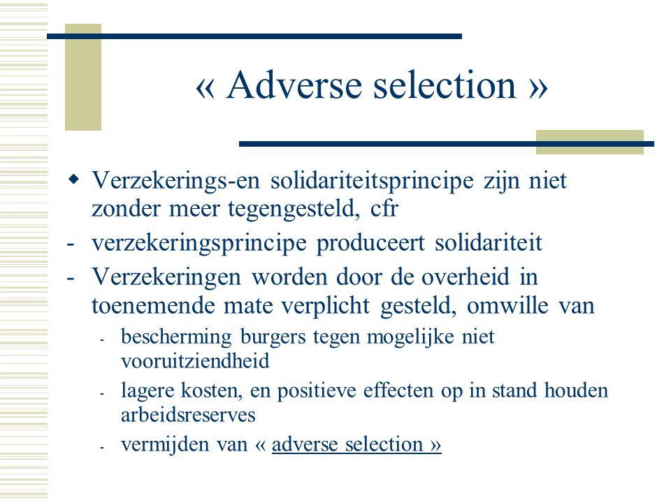 « Adverse selection » Verzekerings-en solidariteitsprincipe zijn niet zonder meer tegengesteld, cfr.