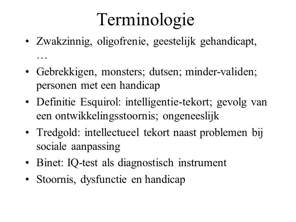 Terminologie Zwakzinnig, oligofrenie, geestelijk gehandicapt, …