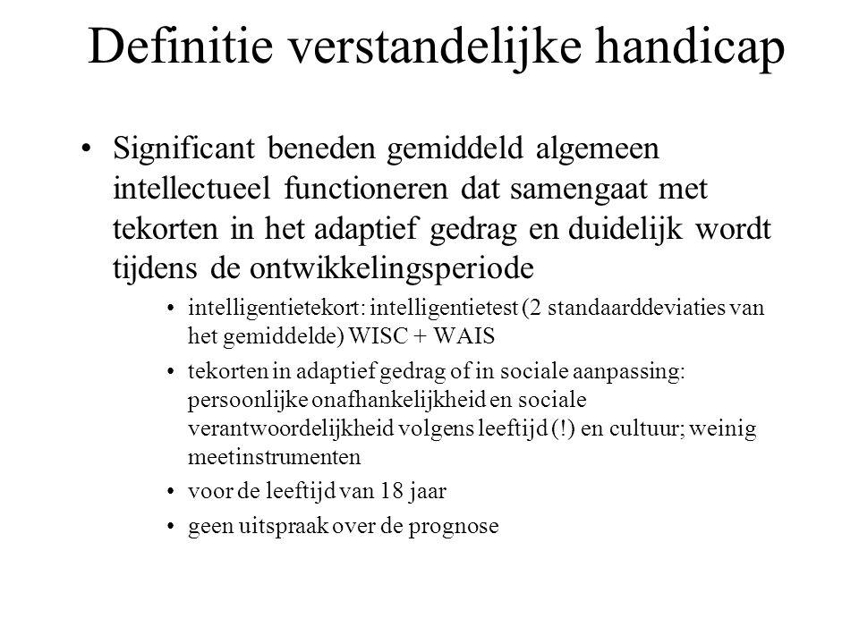 Definitie verstandelijke handicap