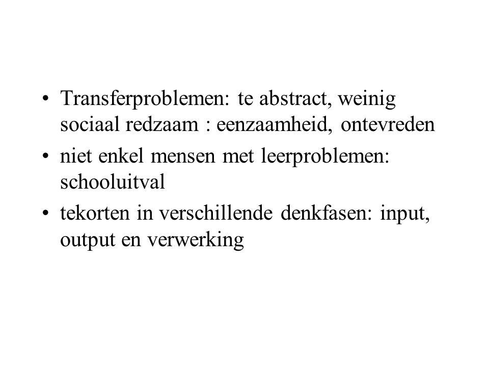 Transferproblemen: te abstract, weinig sociaal redzaam : eenzaamheid, ontevreden