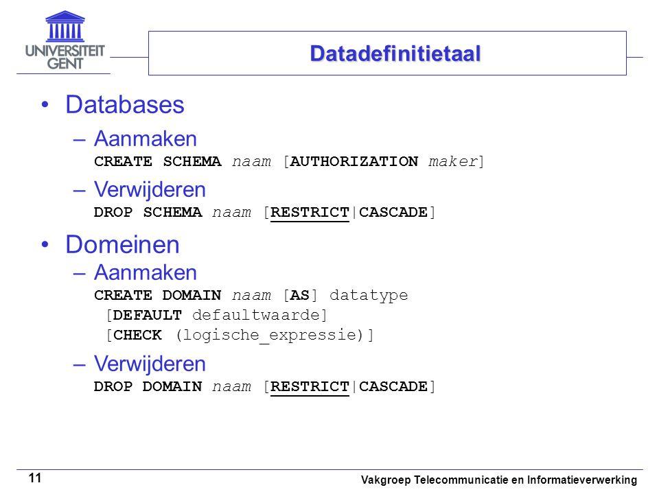 Databases Domeinen Datadefinitietaal