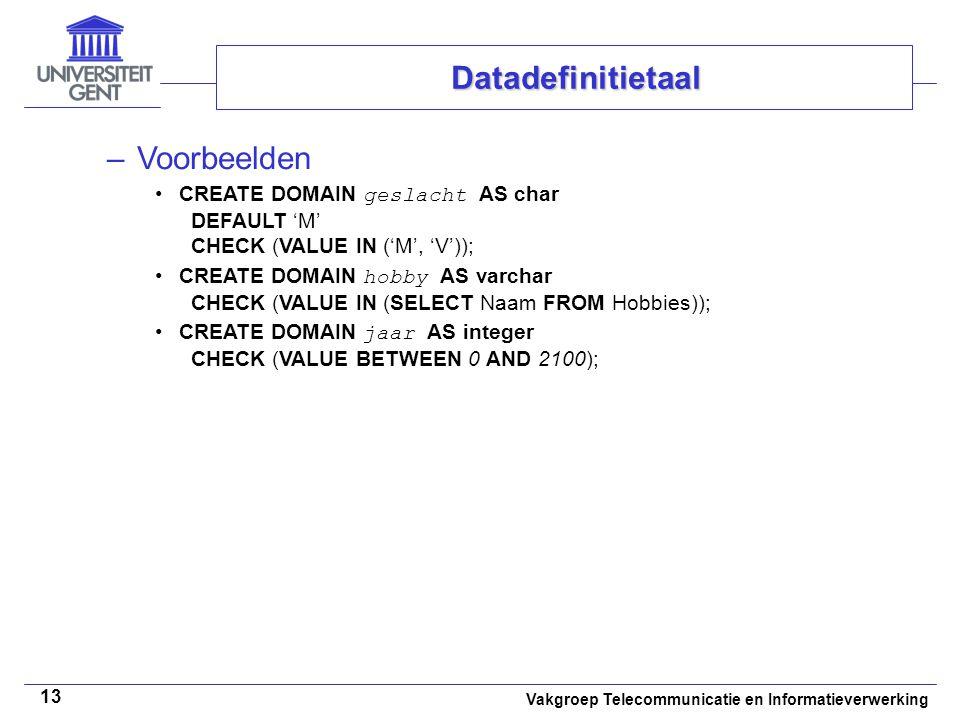 Datadefinitietaal Voorbeelden