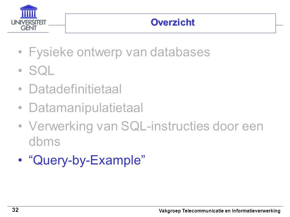 Fysieke ontwerp van databases SQL Datadefinitietaal