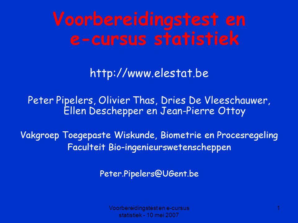 Voorbereidingstest en e-cursus statistiek