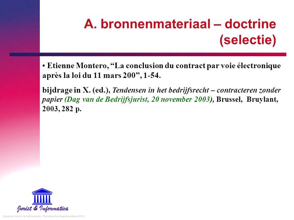 A. bronnenmateriaal – doctrine (selectie)