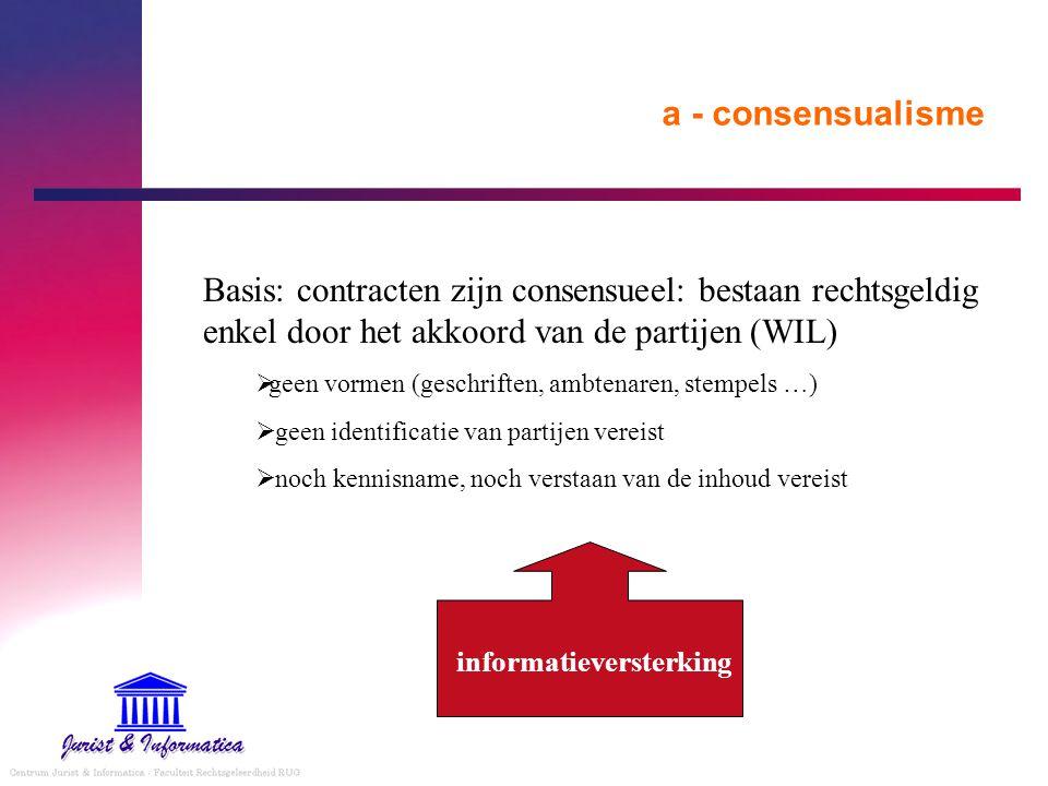 a - consensualisme Basis: contracten zijn consensueel: bestaan rechtsgeldig enkel door het akkoord van de partijen (WIL)
