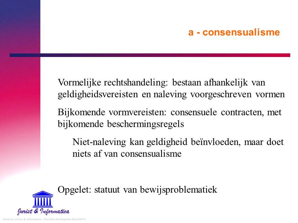 a - consensualisme Vormelijke rechtshandeling: bestaan afhankelijk van geldigheidsvereisten en naleving voorgeschreven vormen.
