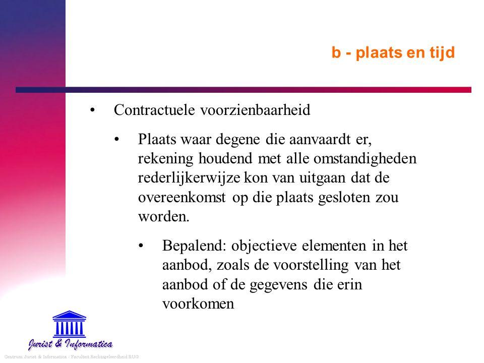 b - plaats en tijd Contractuele voorzienbaarheid.