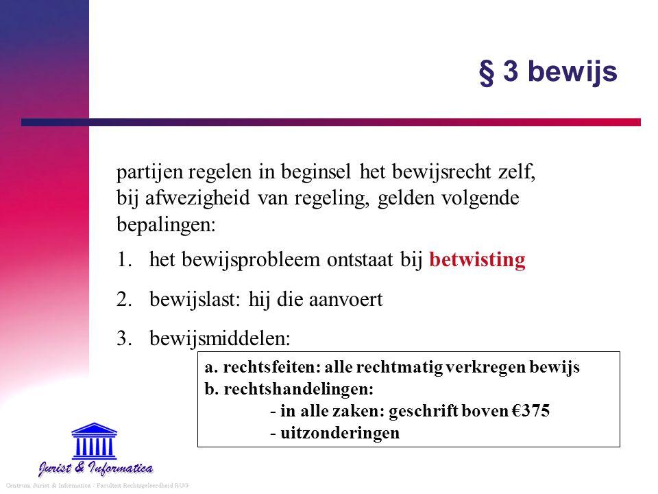 § 3 bewijs partijen regelen in beginsel het bewijsrecht zelf, bij afwezigheid van regeling, gelden volgende bepalingen: