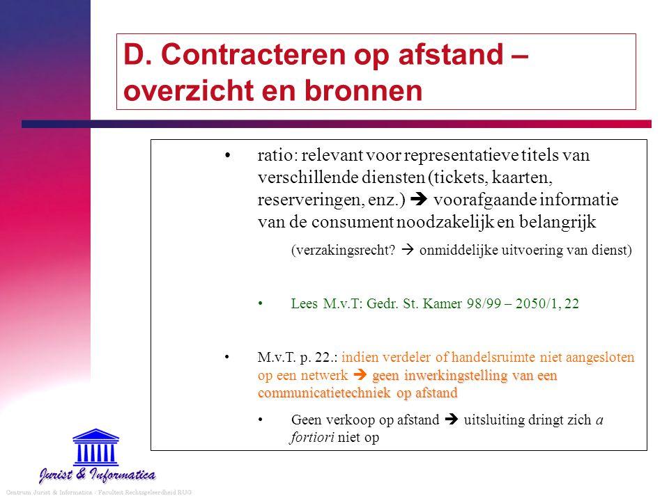 D. Contracteren op afstand – overzicht en bronnen